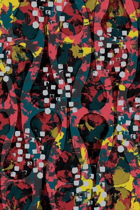 Mixed media pattern work. Click to see more patterns and artwork from bugeyefly design.   #patterns #surface #patterndesign #design #swedish #fabric #abstract #painted #handpainted #painting #indy #indie #independent #freelance #designer #unique #unusual #prints #print #fabricdesign #abstractfabric #bolt #boltfabric