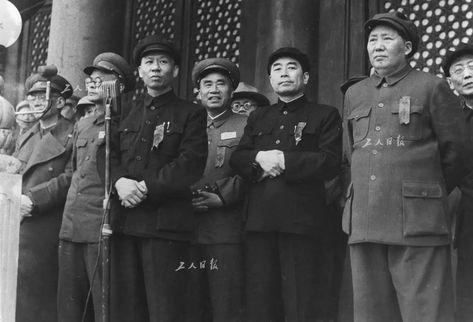Liu Shaoqi, Zhu De, Zhou Enlai, and Mao Zedong celebrate May day 1950