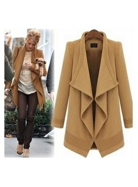 Shop Irregular Long Sleeve Lapel Lacing Camel Coat at victoriaswing, personal womens clothing online store! high quality, cheap and big discount, latest fashional style!
