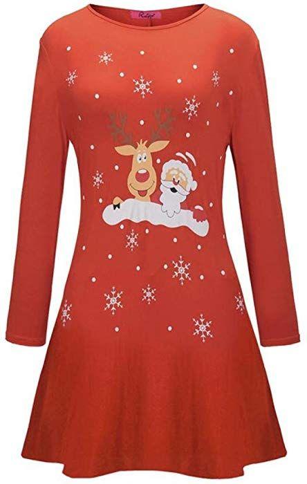 best website a0aaa 77fab Btruely Weihnachtskleid Damen Rückenfreies Kleid #Christmas ...