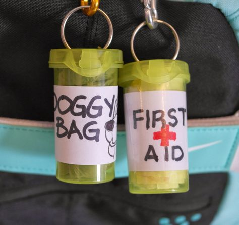 Attach ring to top of recycled prescription bottles for easy reuse.