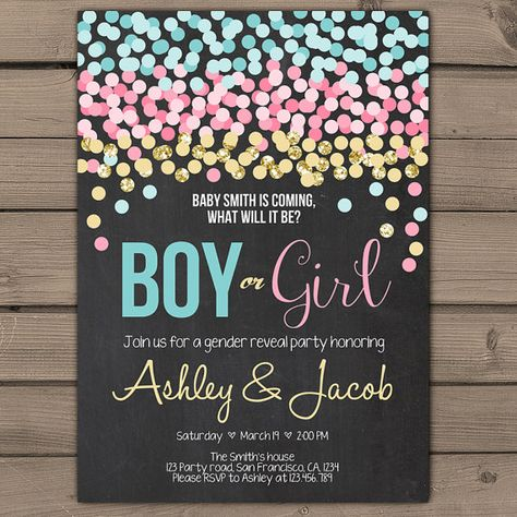 confetti gender reveal invitation gender reveal party invite he or she invite - Gender Reveal Party Invites