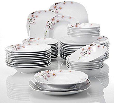 Amazon Com Veweet 48 Piece Ceramic Dinnerware Set Flower Patterns Porcelain Plates Bowls Service F Ceramic Dinnerware Set Ceramic Dinnerware Plates And Bowls