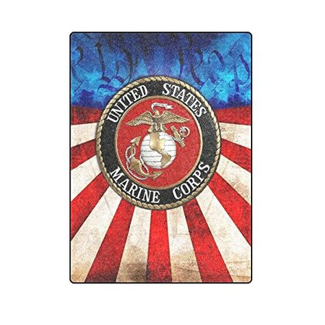 USMC Marines Flag Polar Fleece 50x60 Soft Blanket Throw Gift Plush Blanket