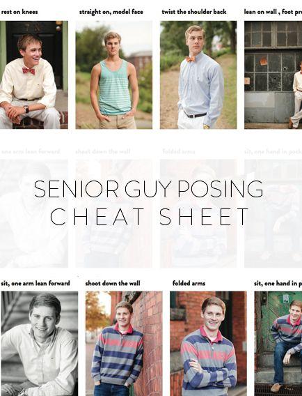 senior guys posing cheat sheet photographer education resources