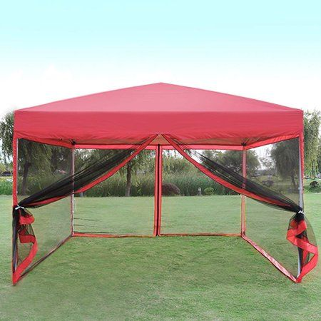 Outdoor Ez Pop Up Canopy Screen Party Tent With Mesh Side Walls 10 X 10 Ft Red Walmart Com Pop Up Canopy Tent Party Tent Gazebo