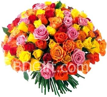 22 100 Pcs Multicolor Roses In Bouquet Flower Delivery Buy