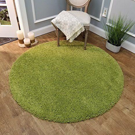 Maxy Home Bella Solid Green 5 Ft Round Shag Area Rug Shag Area Rug Area Rugs Rugs In Living Room