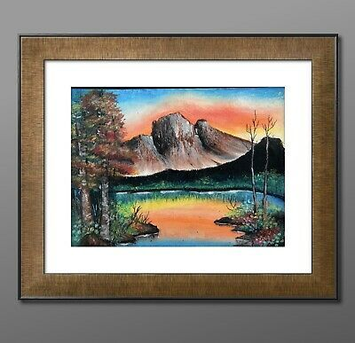 Oil Pastels Original Handmade Painting 9 12 Inches Sunset At Mountain In 2020 Oil Pastel Landscape Pastel Landscape Landscape Paintings
