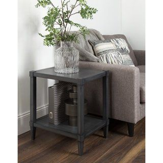 Tall Wood Accent Table w Lower Shelf