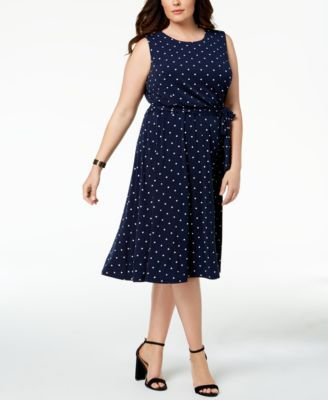 0173a4af278 Charter Club Plus Size Polka-Dot A-Line Dress