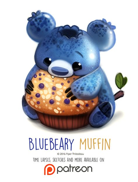 Daily Paint Bluebeary Muffin by Piper Thibodeau