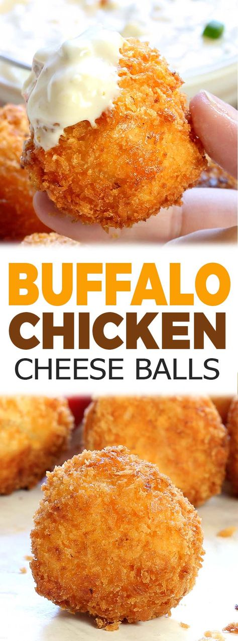 Easy Buffalo Chicken Cheese Balls - Sugar Apron All the flavor of Buffalo chicken dip rolled into a ball, breaded and deep fried. These Buffalo Chicken Cheese Balls come together quickly and fly off the plate just as fast. Buffalo Chicken Dips, Pollo Buffalo, Buffalo Chicken Dip Recipe, Fried Chicken Ball Recipe, Chicken Cheese Balls Recipe, Buffalo Chicken Balls Recipe, Deep Fryer Recipes Chicken, Buffalo Food, Chicken Bombs