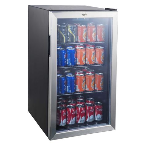 The Whirlpool Beverage Center with Stainless Steel See-thru Door keeps your drinks, snacks and other party necessities cool in this mini beverage refrigerator. This compact refrigerator offers a generous Beverage Refrigerator, Compact Refrigerator, Mini Fridge, Dollar Tree Organization, Hangout Room, Teen Hangout, Beverage Center, Target, Shopping