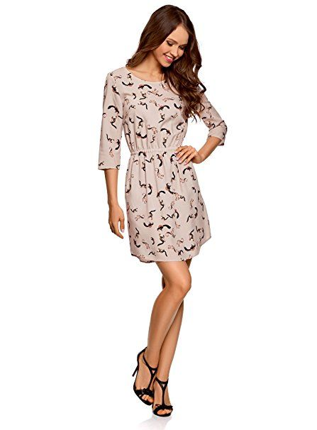 oodji Ultra Damen Viskose-Kleid mit 10/10-Arm, Beige, DE 102 / EU 1010