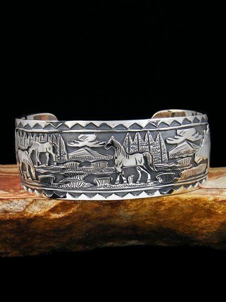 Sterling Silver Native American Storyteller Link Bracelet