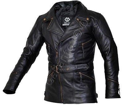 Eddie Black 3 4 Mens Motorcycle Motorbiker Long Leather Jacket Quarter Length Leather Jacket Men Leather Jacket Best Leather Jackets