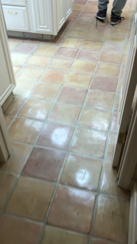 Newly restored whitewash stained Saltillo terracotta tiles