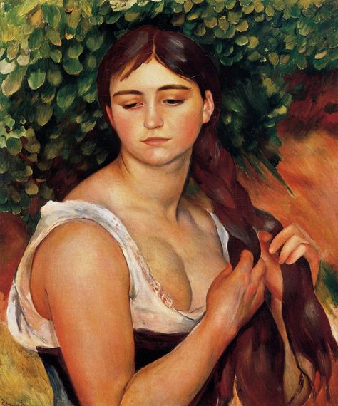 The Braid (Suzanne Valadon) - 1886 by Pierre-Auguste Renoir (french painter)