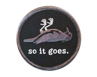 so it goes. iron on embroidered patch Kurt Vonnegut Cool Patches, Pin And Patches, Iron On Patches, Punk Patches, Kurt Vonnegut, Iron On Embroidered Patches, Embroidery Patches, Embroidery Ideas, Preston