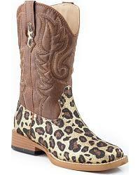21794ece486 Roper Girls  Glittery Brown Leopard Print Cowgirl Boots - Square Toe -  Sheplers