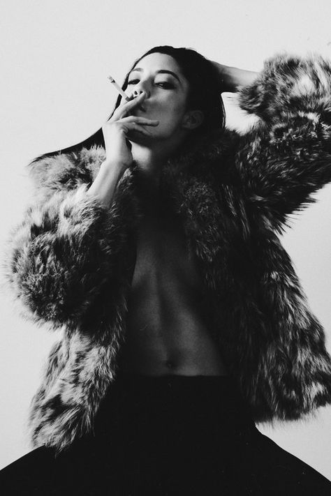 cigarettes and fur | fashion editorial | smoke | black & white |