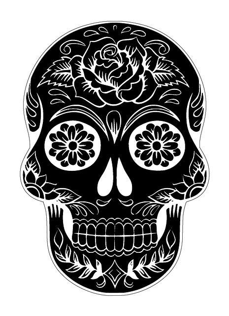 Skull Mexicain Décoratif Noir et Blanche