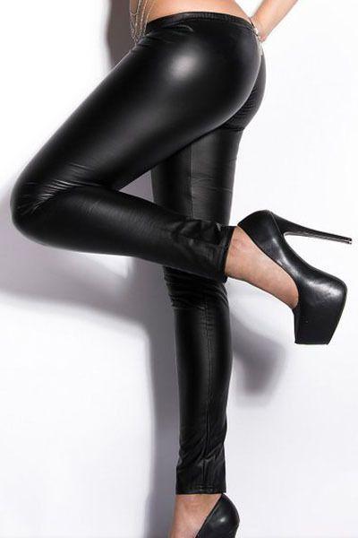 236ae0b10 Wet Look Zippered Leather Leggings Black Skinny Leggings Women PU ...