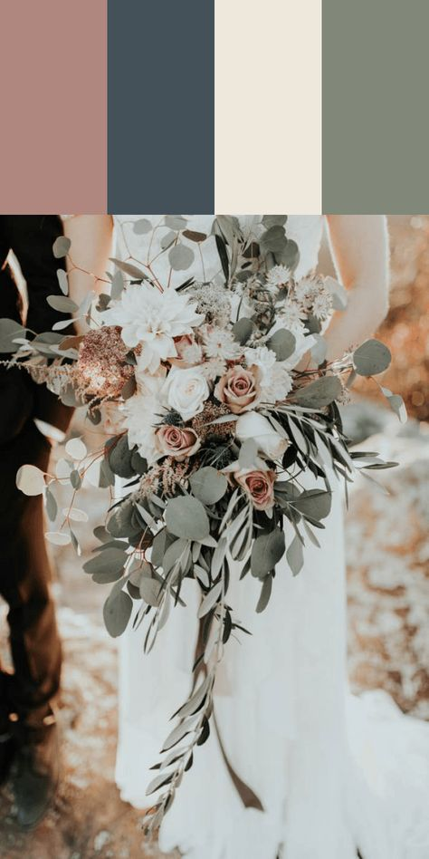 Wedding bouquet and wedding colors. Love the colors in the bouquet, not a fan of the wideness (? Sage Green Wedding, Gold Wedding, Floral Wedding, Rustic Wedding, Dream Wedding, Wedding Day, Wedding Bride, Ivory Wedding Flowers, Boho Wedding Bouquet
