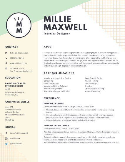 Pastel Green And Yellow Interior Designer Modern Resume Interior