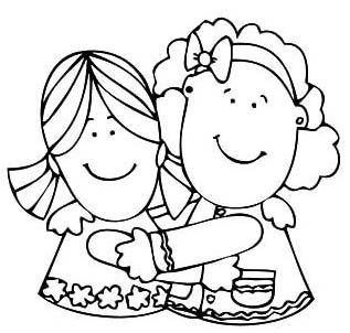 Best Girl Friends Hugging Coloring Pages Friends Hugging Coloring Pages Cool Girl