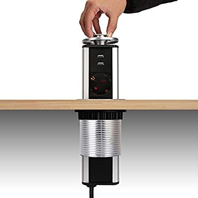 Dazone 3 Fach Steckdose Versenkbar Steckdosen Turm 2 Fach Usb 2m Kabel Komplett In Tischplatte Usb T Arbeitsplatte Arbeitsplatte Kuche Mehrfachsteckdose