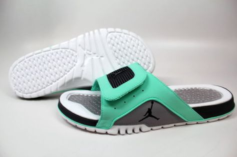Nike-Air-Jordan-Hydro-4-Retro-Slides-Sandals-NEW-Men-SZ-11-12 -13-Green-Glow-Fly 65fdd3db3