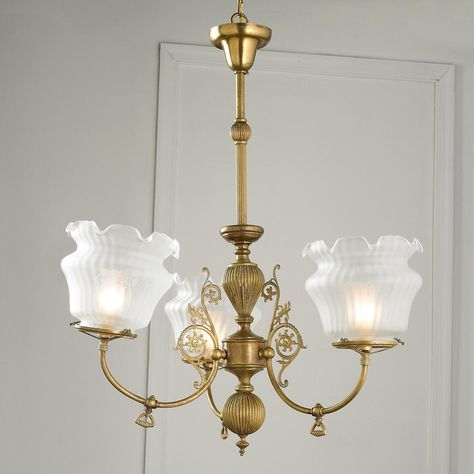Antique Brass Chandelier with Matching Sconces |