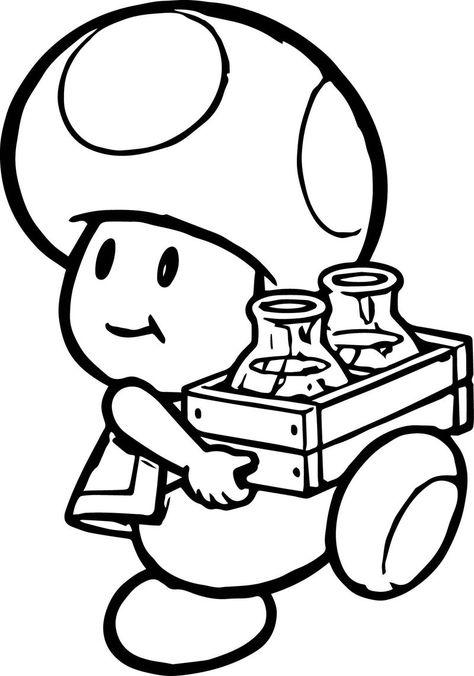 Nintendo Mario Mushroom Character Coloring Page Coloring Books