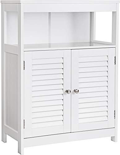 Amazing Offer On Vasagle Bathroom Storage Floor Cabinet Free Standing Double Shutter Door Adjustable Shelf White Online Top10popstore In 2020 Bathroom Floor Storage Adjustable Shelving Bathroom Storage