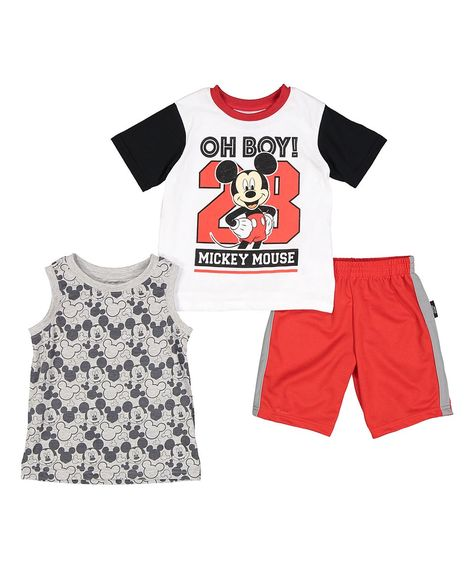 8ddb6073d731 Take a look at this Mickey Mouse White & Black 'Oh Boy!' Tee Set - Infant &  Toddler today!