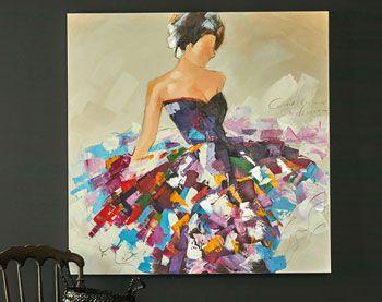 Tableau Danseuse Peinture Robe Peintures Art Abstrait Couleur
