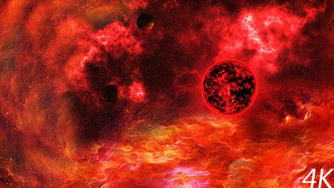 Flying Through Abstract Red Space Nebula To The Big Red Star And Planets Nebula Red Space Planets