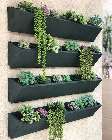 30 Charming Succulent Wall Art Ideas For Minimalist Garden - Tenacity is a key word for cacti and succulents. They make a good choice of plant for gardeners who lack the knack that sees plants flourish, but who . House Plants Decor, Plant Decor, Wood Planters, Succulent Wall Planter, Outdoor Wall Planters, Diy Wall Planter, Outdoor Wall Paint, Large Outdoor Wall Art, Plant Wall Diy