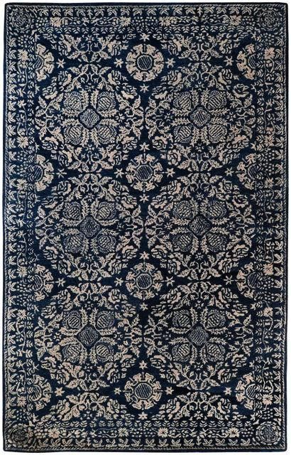Medallion Rug In Dark Blue And Light Grey Yarn And Loom Rugs