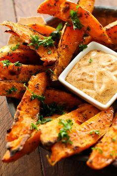 Photo of Sweet Potato Wedges with Honey Chipotle Dipping Sauce – Chef in Training