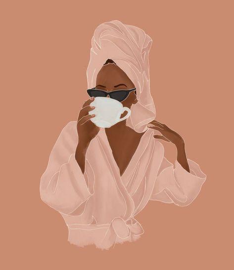 Treat Yourself Mini Art Print by Rachel Szo - Without Stand - x Black Girl Art, Black Women Art, Black Girl Magic, Art Girl, Black Art, Brown Aesthetic, Aesthetic Art, Aesthetic Drawing, Blonde Aesthetic