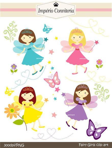 Kit Digital Scrapbook Boneca Fada 14 Clip Art Fairy Templates Third Birthday Girl
