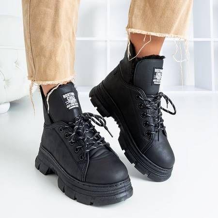 Czarne Trapery Damskie Z Futerkiem Rostorie Obuwie Boots All Black Sneakers Black Sneaker