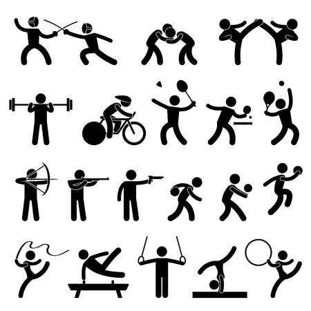 Jeu Interieur Sport Set Athletic Icone Signe Symbole Pictogramme In 2020 Indoor Sports Games Pictogram Indoor Sports