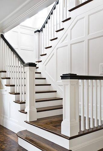 Crisp White Walls And Dark Wood Floors Stairway Hamptons Style   White And Dark Wood Stairs   Medium Dark   Foyer   Stair Railing   Indoor   Traditional