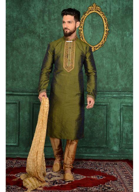 Stylish Green Banarasi Silk Kurta Payjama | Mens kurta