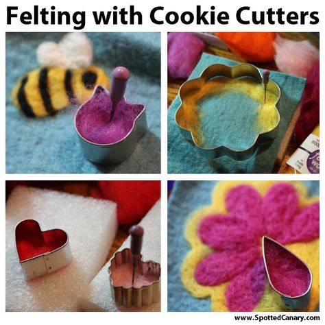 Needle Felting with Cookie Cutters - Lots of fun ideas!  On Spotted Canary