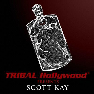 SPARTA VINE AND BLACK SPINEL DOGTAG Scott Kay Mens Sterling Silver Necklace Pendant